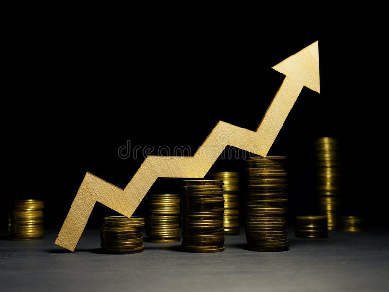 Increase of profit. Money and growth up arrow. Success in business stock image