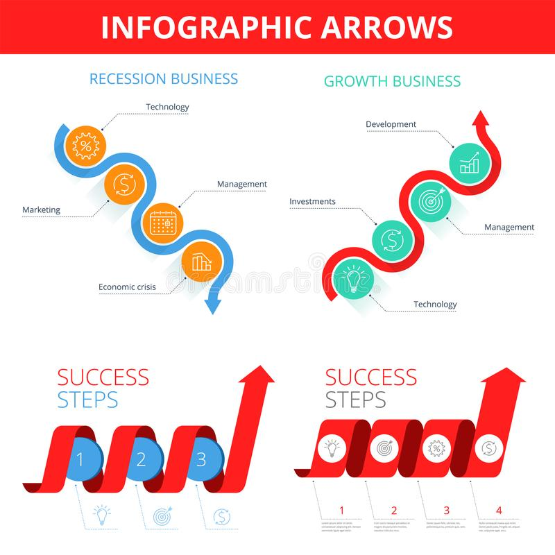 Increase, recession, growth, decline, step business arrows. Flat stock illustration