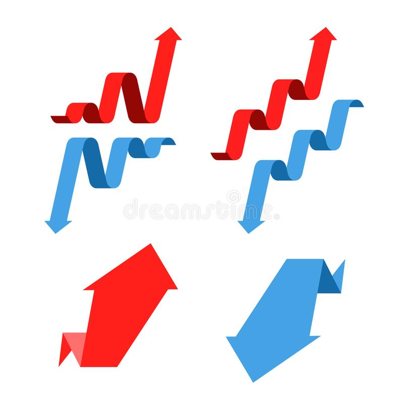 Increase, recession, growth, decline, success business arrows. F. Increase, recession, growth, decline, success business flat concept illustration. Graph arrows stock illustration