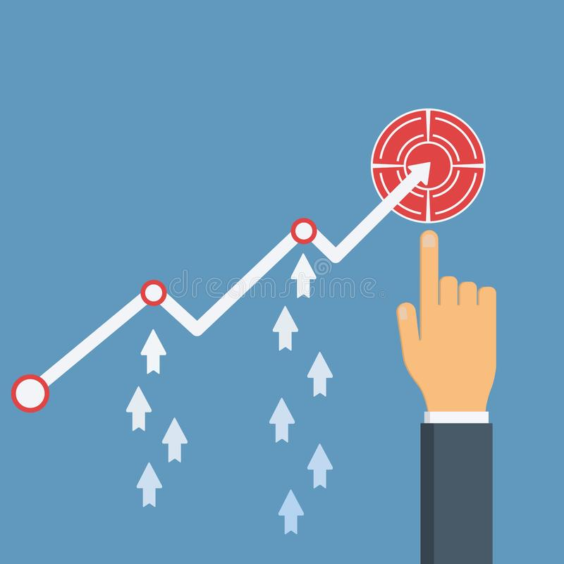 Increase sales. Businessman`s hand points to profit growth financial chart. Diagram up, arrows up. royalty free illustration