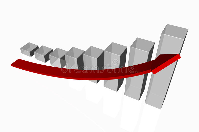 Increasing bar graph. 3d render of an increasing bar graph with a red arrow showing positive growth and improved performance on a white background royalty free illustration
