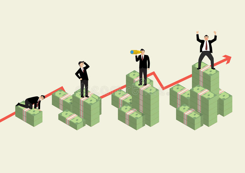 Increasing cash money with businessman in various activity. Economic concept vector illustration