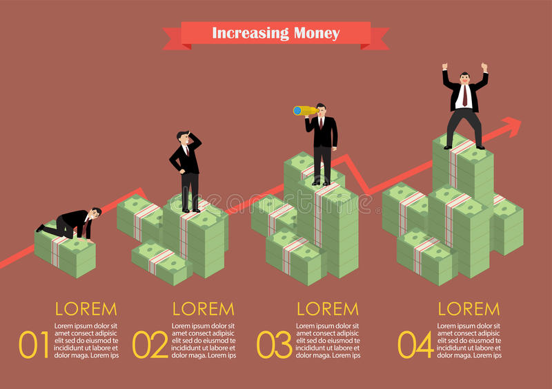 Increasing cash money with businessman in various activity. Infographic. Economic concept vector illustration