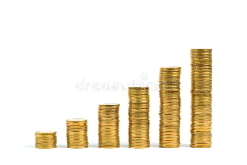 Increasing columns of coins, step of stacks coin isolated on white background with copy space for business and financial concept. Increasing columns of coins royalty free stock image