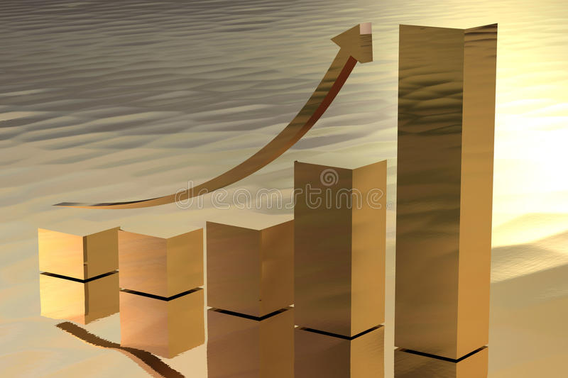 Download Increasing Gold Bars As Symbol For Wealth Stock Illustration - Illustration: 24943366