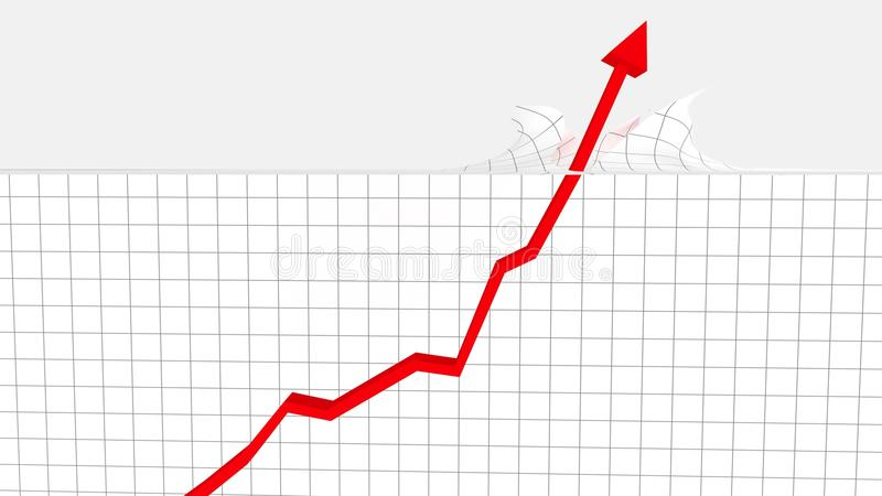 Increasing Graph Breaking Through Ceiling. A graph gradually increasing in value before skyrocketing through a limit, depicted here as a ceiling royalty free illustration
