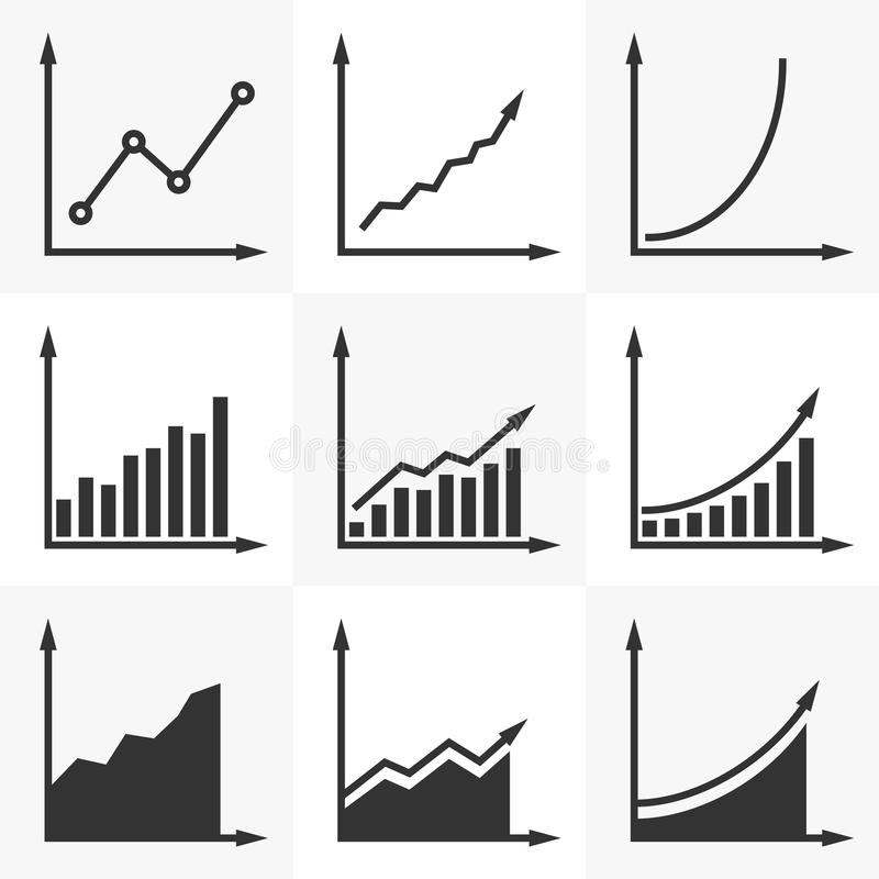 Increasing graph. Set of vector diagrams with a rising trend. S stock illustration