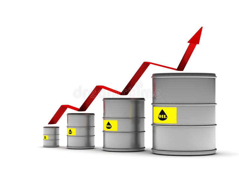 Increasing price of oil stock illustration