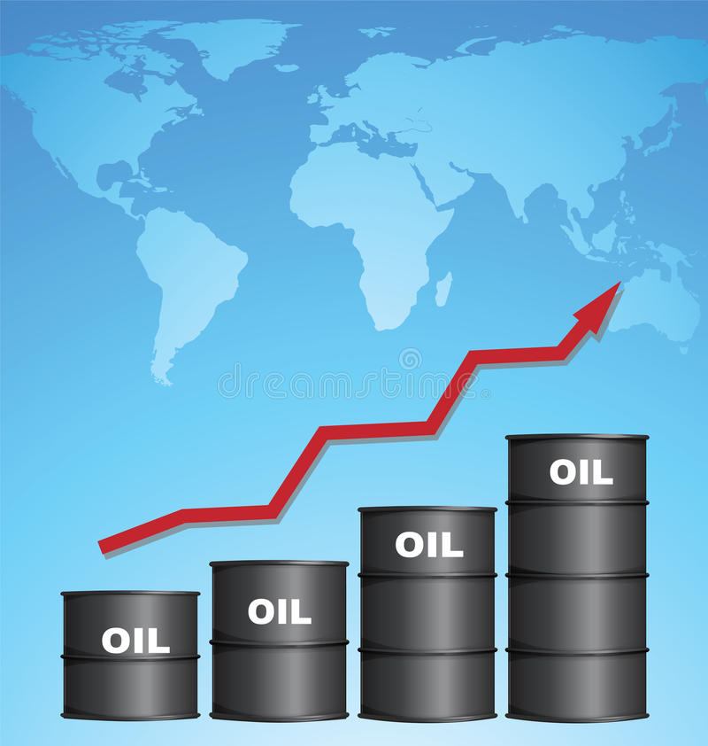 Increasing Price of Oil With World Map Background, Oil Price Concept. Increasing Price of Oil With World Map Background, Credit Map by NASA vector illustration