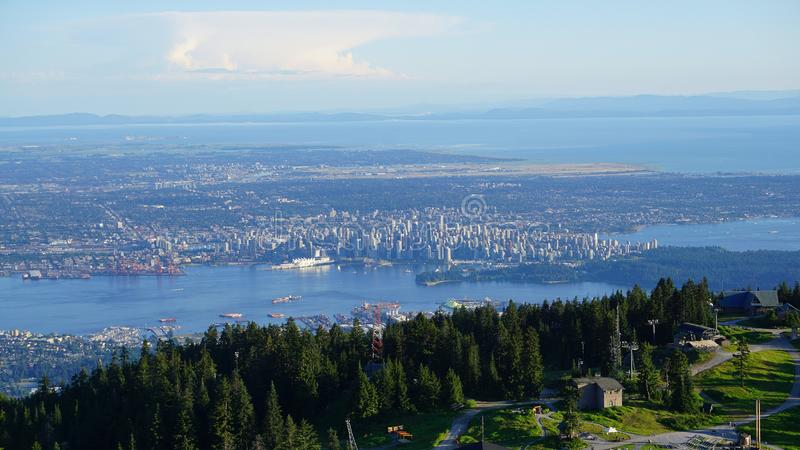 Incredible beautiful panoramic aerial view of Vancouver, British Columbia, Canada. stock photography
