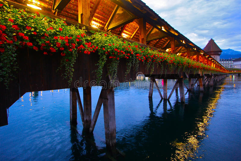 Incredible Chapel Bridge of Luzern royalty free stock photography