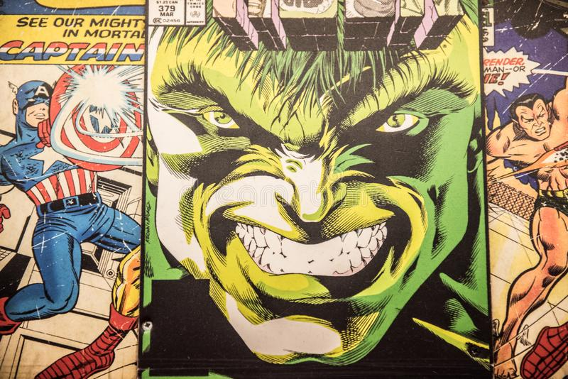 The Incredible Hulk, original comic book cover. The big green hulk costume, a Marvel superhero character, played by Mark Ruffalo. Original old style comic book royalty free stock image