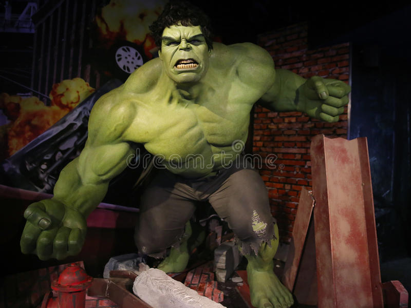 The Incredible Hulk. Waxwork statue of the Incredible Hulk in Madame Tussauds Museum from Amsterdam, Netherlands stock images