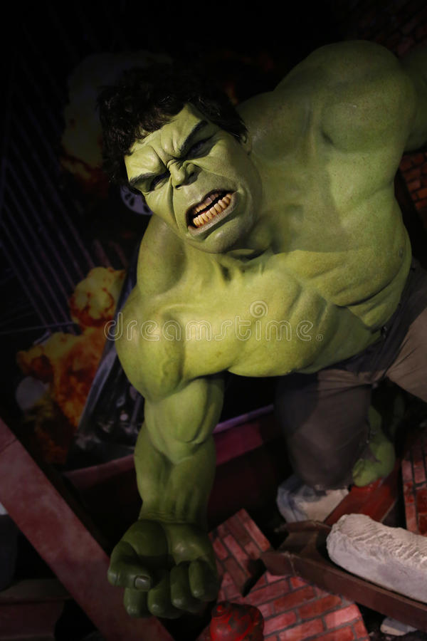 The Incredible Hulk. Waxwork statue of the Incredible Hulk in Madame Tussauds Museum from Amsterdam, Netherlands stock photography