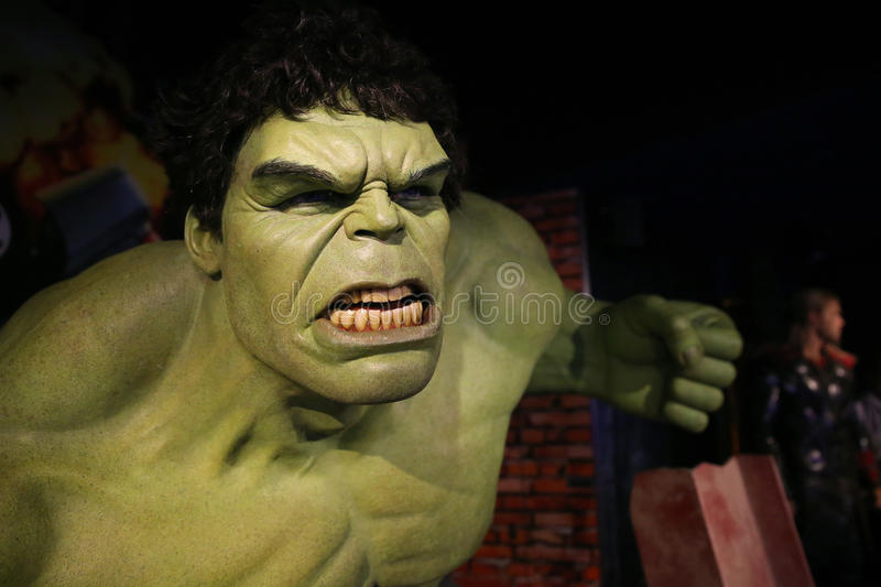 The Incredible Hulk. Waxwork statue of the Incredible Hulk in Madame Tussauds Museum from Amsterdam, Netherlands royalty free stock photos