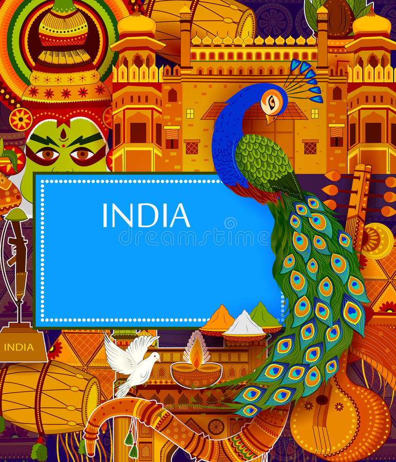 Incredible India background depicting Indian colorful culture and religion stock illustration