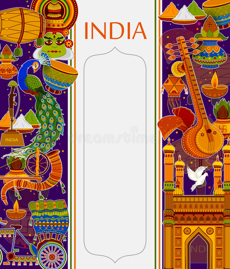 Incredible India background depicting Indian colorful culture and religion. In vector vector illustration