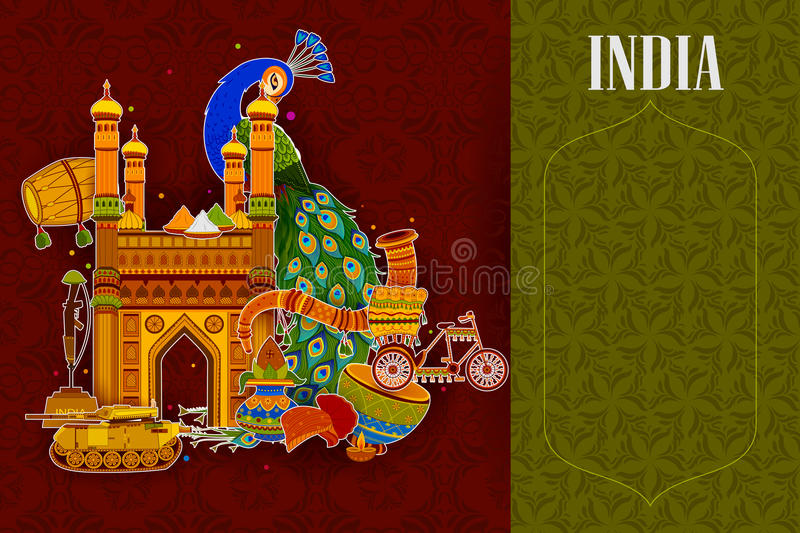 Incredible India background depicting Indian colorful culture and religion. In vector stock illustration