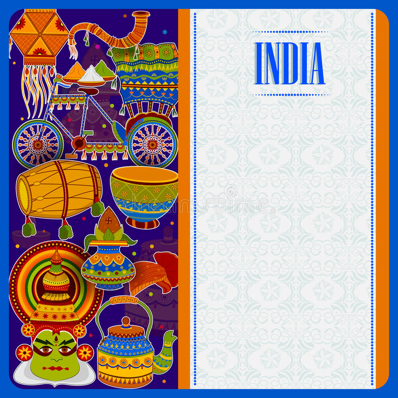 Incredible India background depicting Indian colorful culture and religion royalty free illustration