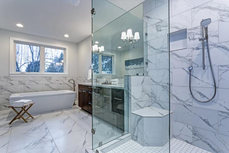 Incredible master bathroom with Carrara marble tile surround. royalty free stock image
