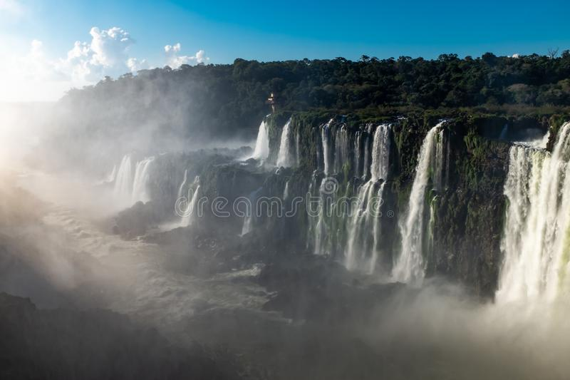 The incredible mighty and majestic Iguazu Falls, multiple waterfalls make up this UNESCO world heritage site, seen from the royalty free stock photo