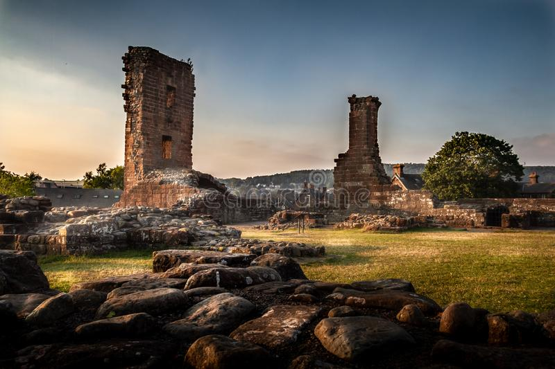 Incredible moody and artistic view of the Penrith Castle ruins at sunset in Cumbria, England royalty free stock photo