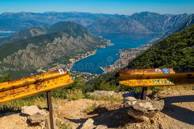 Incredible panoramic view of Kotor Bay, Montenegro royalty free stock photos