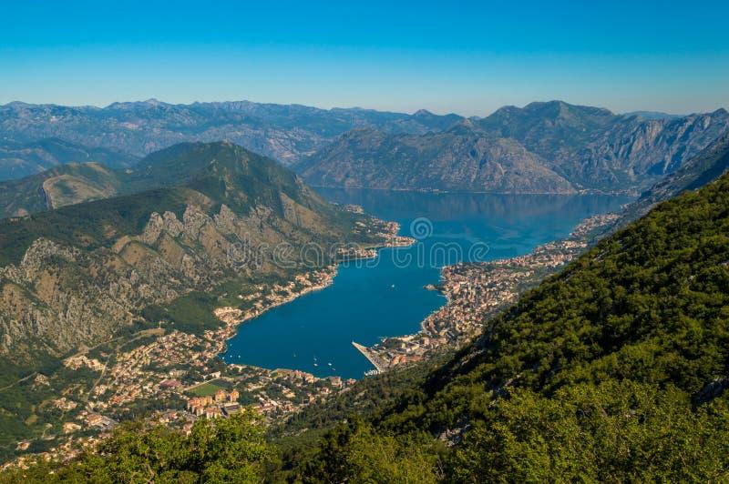 Incredible panoramic view of Kotor Bay, Montenegro royalty free stock photo