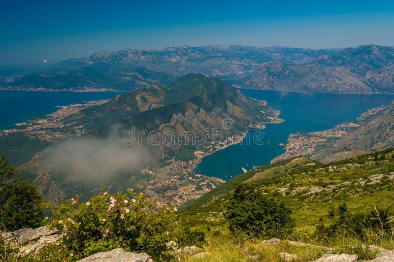Incredible panoramic view of Kotor Bay, Montenegro stock photos