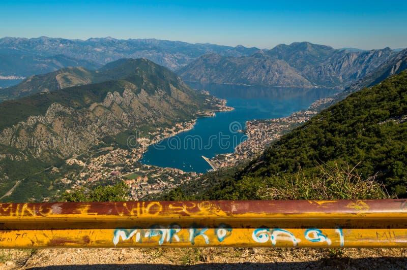 Incredible panoramic view of Kotor Bay, Montenegro stock photo