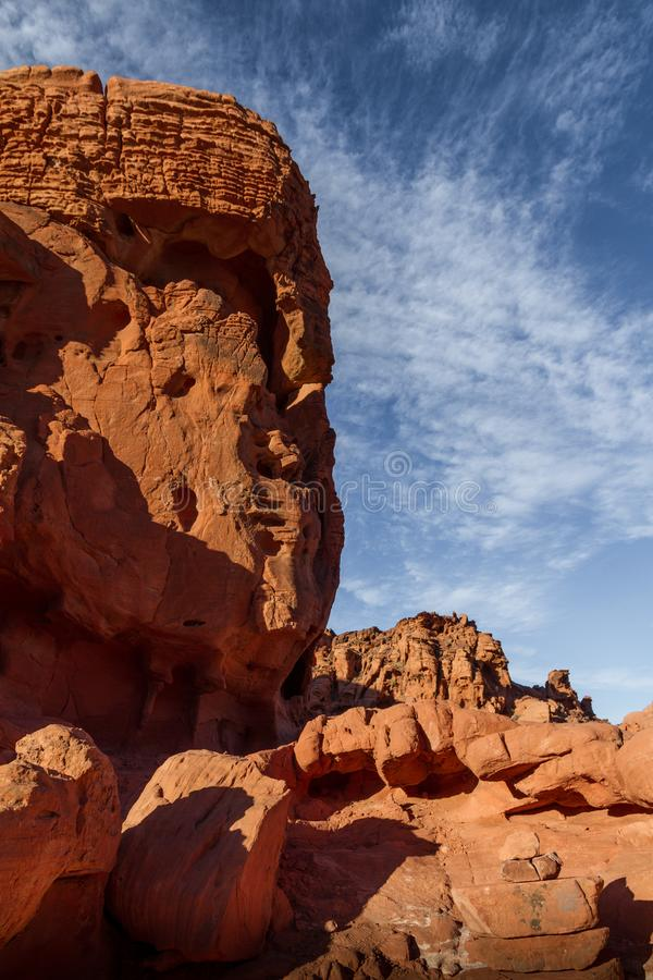 Incredible rock formation that looks like a face or Buddha in Valley of Fire State Park near Las Vegas, Nevada stock photography