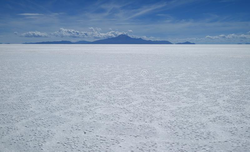 Incredible Salar de Uyumi, the world`s largest salt flat at 10,582 square kilometers, Potosí department of Bolivia stock photo