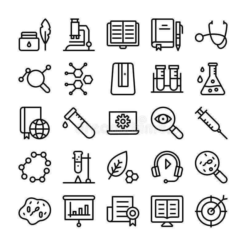 Science and Education Line Icons Set royalty free stock photography
