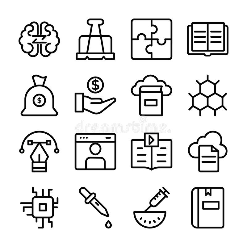 Set of Science and Education Line Icons stock images