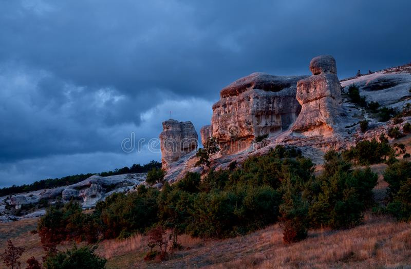 Incredible stones near by Bakhchysarai. In sunset illumination, Crimea royalty free stock images