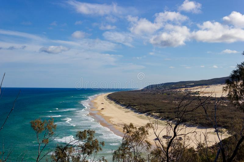 The incredible stretch of Fraser Island& x27;s sandy beach, Indian Head Lookout, Fraser Island Queensland royalty free stock photo
