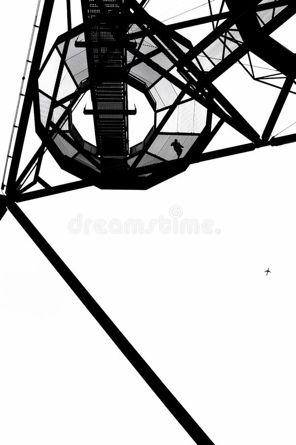 Incredible structure of the Tetrahedron in Bottrop, Germany captured on a black and white photography taken from below stock images