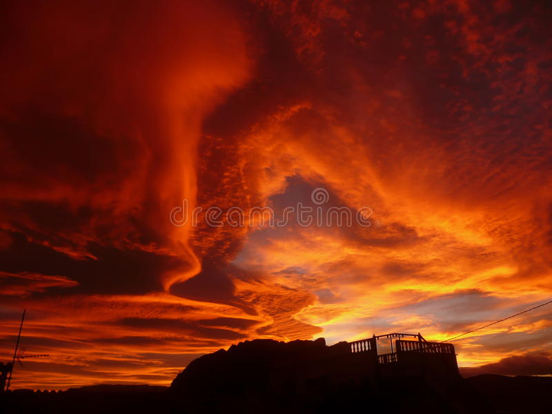 Incredible sunset royalty free stock photography