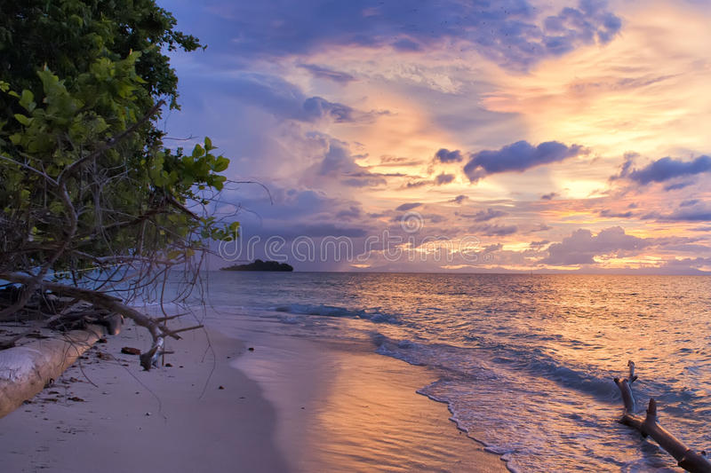 Download Incredible Sunset On Wonderful Turquoise Tropical Paradise Beach Stock Photo - Image: 31852958