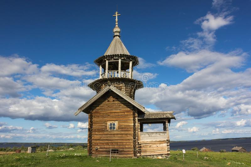 Kizhi Island, Petrozavodsk, Karelia, Russian Federation - August 20, 2018: Folk architecture and the history of the construction o stock photos
