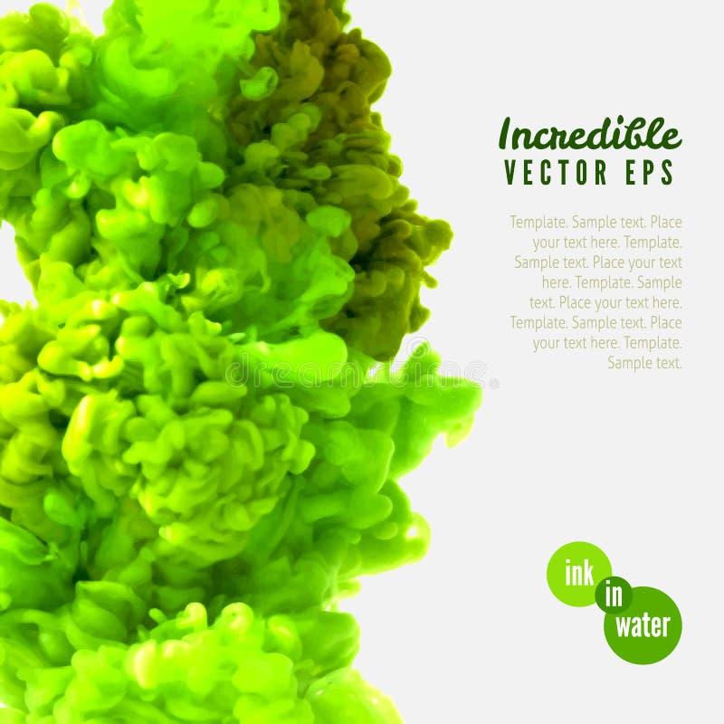 Incredible vector green ink in water. Incredible vector light green ink in water stock illustration