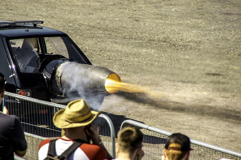 Jet Car. An incredible vehicle used for entertainment at motor shows, this is a jet car with an immense amount of horsepower stock photo