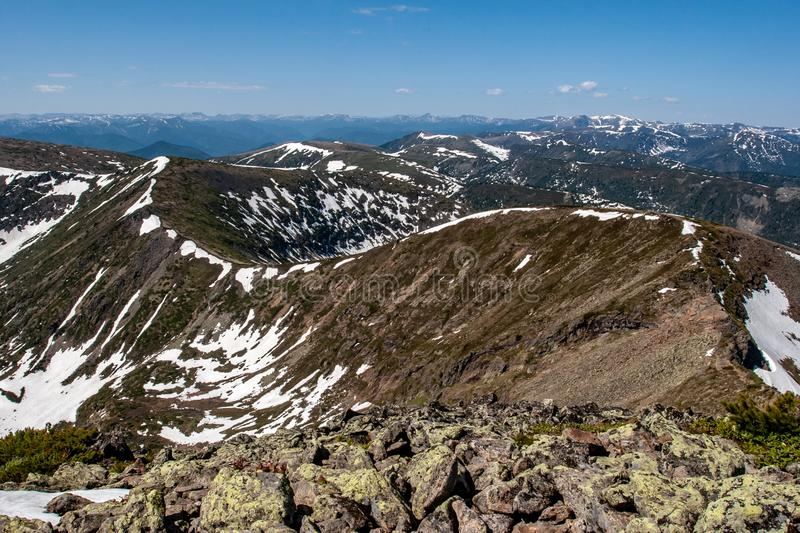 An incredible view of the bend of the mountain range extending into the distance royalty free stock photography