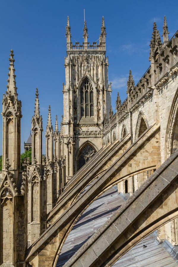 Incredible view of the flying buttresses and architectural details of York Minster Cathedral in Yorkshire, England royalty free stock image