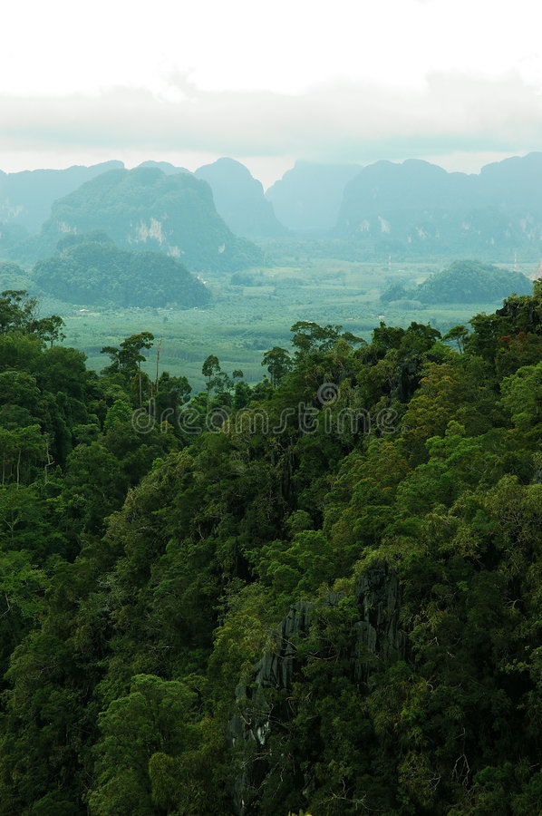Incredible View of Mountains from Island of Koh Samui, Thailand. royalty free stock image