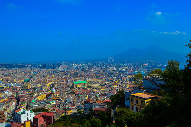 Incredible view of Naples with Mount Vesuvius in the background, Italy stock photography