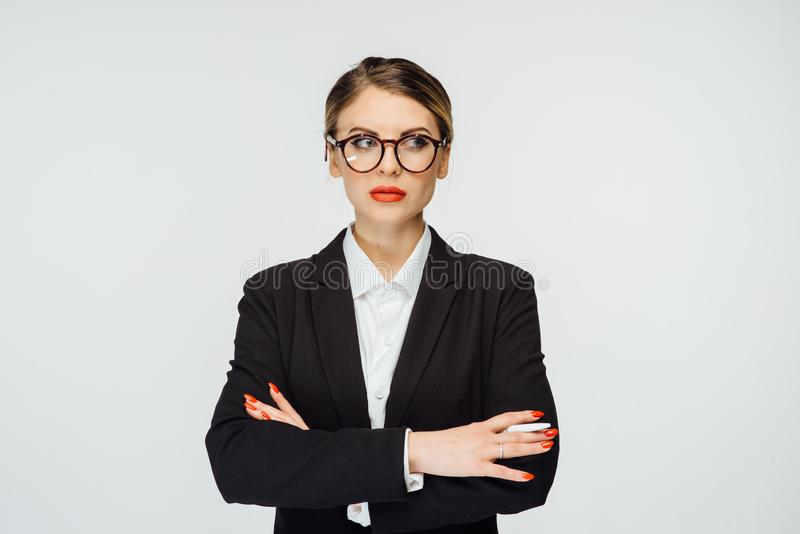 An incredibly beautiful business woman comes up with a creative idea for her business.  royalty free stock photo