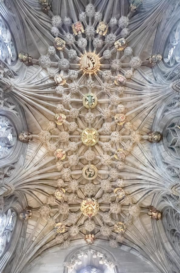 The incredibly beautiful ceiling of the Thistle Chapel at St. Giles` Cathedral stock image
