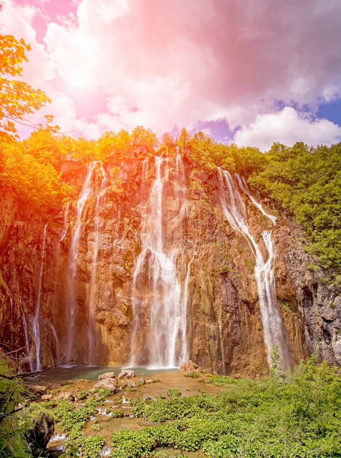 Incredibly beautiful fabulous magical landscape with a waterfall royalty free stock photos