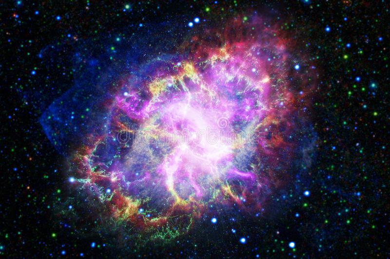 Incredibly beautiful galaxy somewhere in deep space. Science fiction wallpaper stock illustration